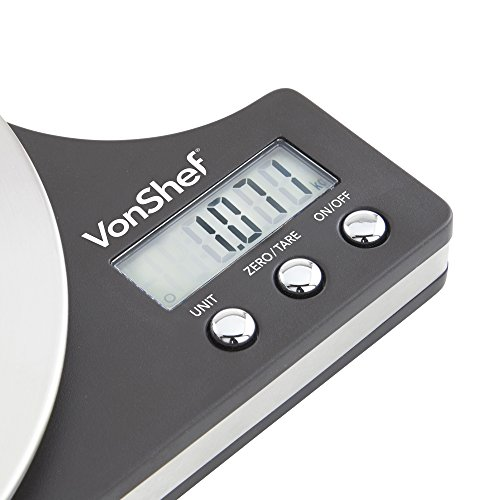 VonShef Round Digital Electronic Kitchen Food Scale - 11lb/5kg Capacity - Slim Stainless Steel & LCD Display Screen