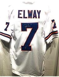 John Elway Denver Broncos Signed Autograph Custom White Jersey Elway Player Hologram