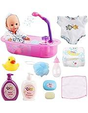 deAO Mi Primera Muñeca Bebé Conjunto de Baño con Funciones de Agua Real Set Incluye Muñeca, Bañera, Accesorios y Albornoz
