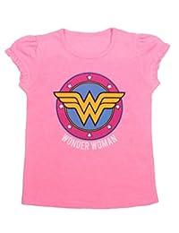 Wonder Woman - Girls Ruffle Sleeve T-Shirt (5T, Pink)