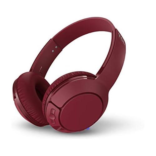 chollos oferta descuentos barato TCL MTRO200BT Auriculares inalámbricos con micrófono Bluetooth 4 2 con aislamiento de ruido almohadillas de cuero 20H bateria carga rápida plegables Rojo