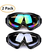 Snow Goggles 2 Pack Ski Goggles Motorcycle Goggles Snowboard Goggles with UV Protection Windproof Anti-Glare Lenses