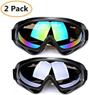 Snow Goggles 2 Pack Ski Goggles Motorcycle Goggles Snowboard Goggles with UV Protection Windproof Anti-Glare L