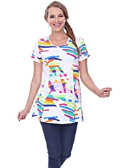 Parsley & Sage Paloma, Short Sleeve Multicolor Tunic Top in Geometric Pattern