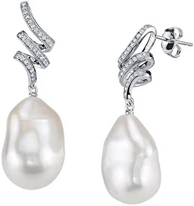 12mm White Freshwater Baroque Cultured Pearl & Crystal Jasmine Earrings