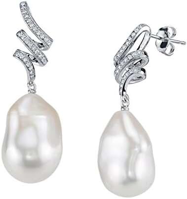 12mm White Freshwater Baroque Cultured Pearl & Crystal Jasmine Earrings