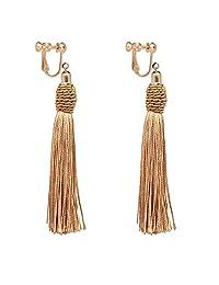 Long Tassel Beads Clip on Earrings non Pierced Drop Fringe Thread Dangle Light Weight Girls