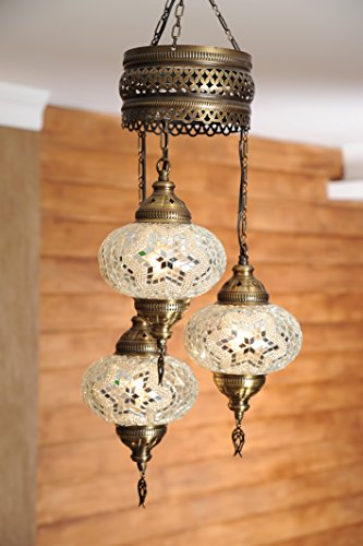 (Choose from 12 Designs) Turkish Moroccan Mosaic Glass Chandelier Lights Hanging Ceiling Lamps (Large-5) (Tiffany Lamp Large Pendant)