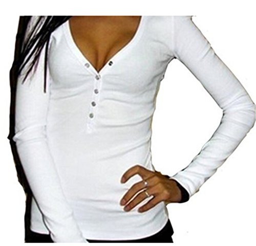 Bohai Damen Langarmshirt Regular Fit Bluse Top Oberteil V-Ausschnitt mit Knöpfen Bluse Slim T-shirt Pullover