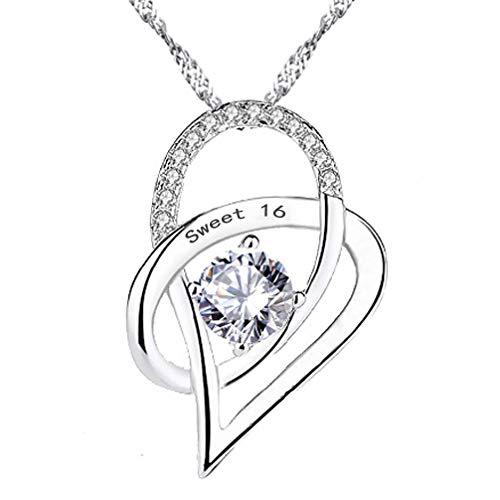 (Chaomingzhen 925 Sterling Silver Heart Pendant Necklace Engraved Sweet 16 16th Birthday Gift for HER)