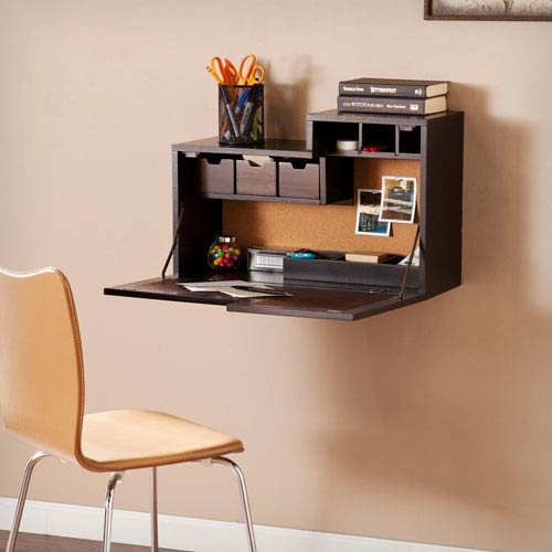Southern Enterprises Dover Wall Mount Desk in Black