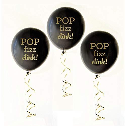 Set of 3 Pop Fizz Clink Balloons Black and Gold Balloons Bridal Shower Decors Party Supplies tokocanna]()