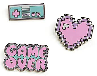 b63aecf84cf5 Enamel Pin Set - Gamer Gifts for Women - Backpack Kawaii Enamel Pins