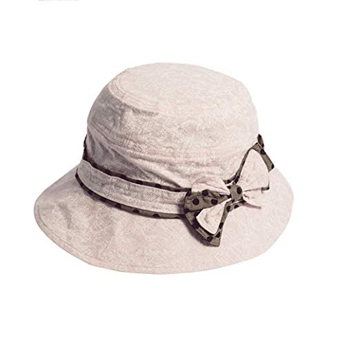 (Women Fashion Bow-Knot Fisherman Bucket Hat 100% Cotton Sun Hats Summer Visor Beach Hat Pink/Beige Panama Cap)