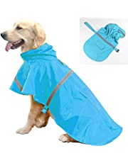 Dog Raincoat Rainwear Outdoor Waterproof Clothes Pet Fashion Reflective Strip Hoodie Adjustable Lightweight Breathable Windbreaker Jumpsuit Rain Gear for Small Medium Large Dogs