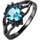 Womens Oval Blue Aquamarine Wedding Ring 10KT Black Gold Filled Size 6/7/8/9/10#by pimchanok shop (9)