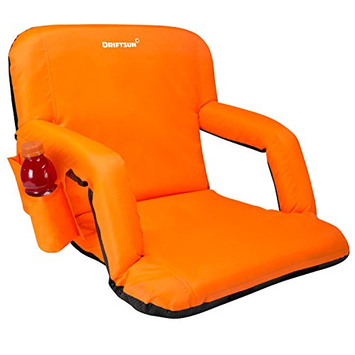 Driftsun Reclining Stadium Seat, Bleacher Chair with Back Support, Folding Sport Chair Reclines Perfect for Bleachers Lawns and Backyards, Orange