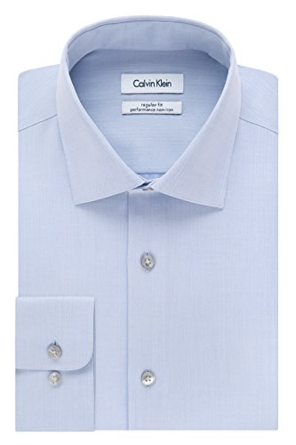 Calvin Klein Men's Regular Fit Non Iron Herringbone Spread Collar Dress Shirt, Blue, 17.5