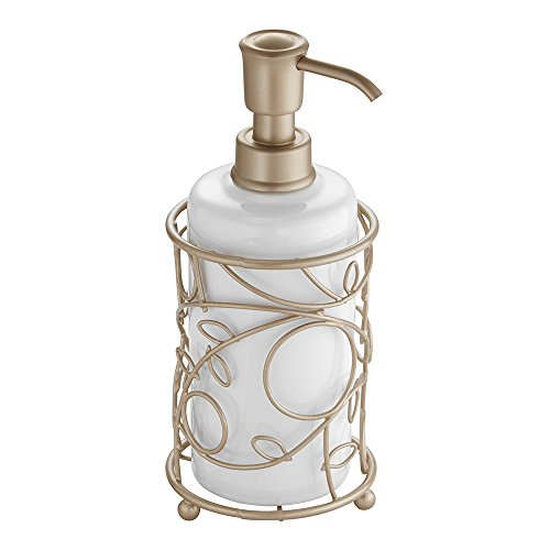 InterDesign Twigz Ceramic Liquid Soap Dispenser Pump, for Kitchen or Bathroom Countertop - White/Pearl Champagne