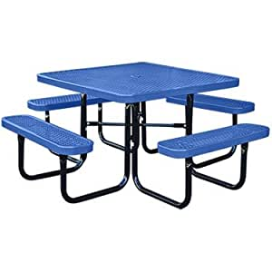Amazon 46 square thermoplastic coated metal supersaver 46quot square thermoplastic coated metal supersaver commercial picnic table portablesurface watchthetrailerfo