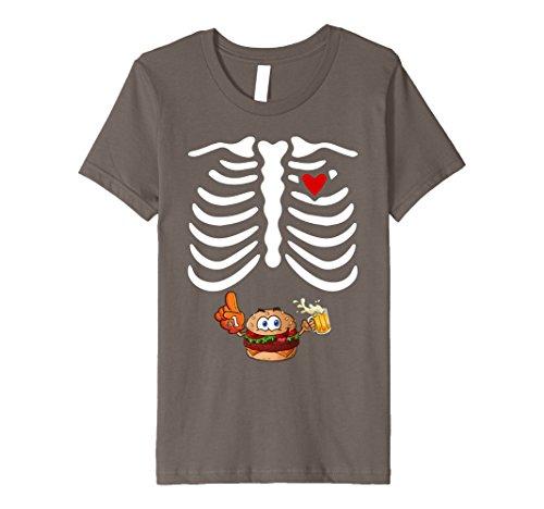 Kids Mens Beer Hamburger Skeleton Shirt Cute Costume Halloween 12 Asphalt