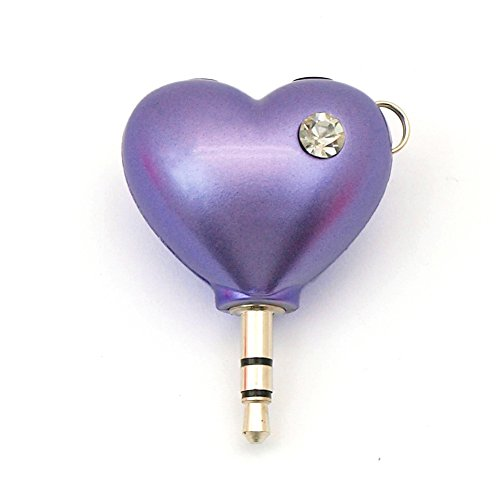 Headphone Splitter 2-Way Heart Shape Audio Splitter 3.5mm Jack Plug with Keychain Compatable for iPhone iPad Samsung Android Handphone (Purple) ()