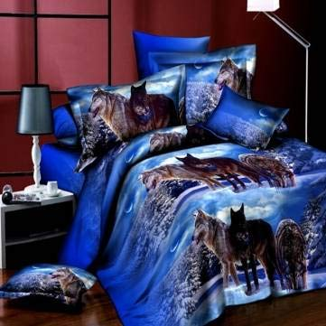 Queen Bedding Set - Wolf Bedding Set - 4pcs Suit 3D Snowfield Wolf Reactive Dyeing Polyester Fiber Bedding Sets Queen Size (Wolf Queen Bed Set)