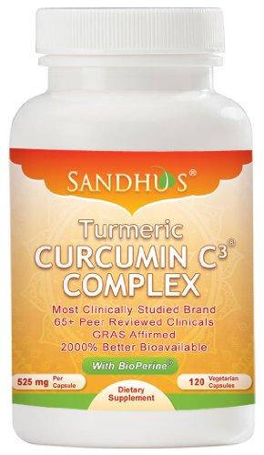 Curcuma curcumine C3 Complex 525 mg avec BioPerine® Vegetarian Capsules 120 ct