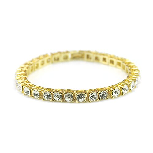Fashionever Gold Plated Iced Out Mens Hip Hop Chain Bracelet 1 Row 6MM Tennis Chain (Gold, 8)
