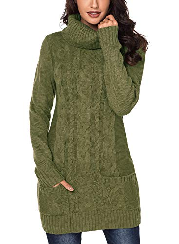 - Dokotoo Womens Sweater Cable Knit Winter Chunky Cowl Neck Long Sleeve Warm Ladies Fashion Ribbed Sweater Dress Jumper Pullover Slim Dresses with Pockets Green Medium