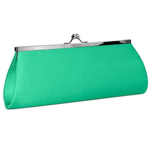 CASPAR TA309 Bolso de Mano Fiesta para Mujer / Clutch de Satén con Cierre Metálico Elegante - Varios Colores Verde Menta