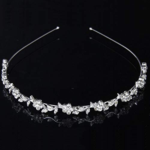 Women's Wedding Crystal Bridal Flower and Leaves Tiara Crown Headband Headdress -