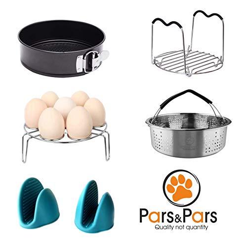 Pars&Pars Pressure Cooker Accessories Set 6 Pieces, Compatible with Instant Pot 5 qt,6 qt and 8 quart, Steamer Basket, Egg Steamer Rack, Non-stick Springform Pan, Steaming Rack, Silicone Cooking - Trivet Girl