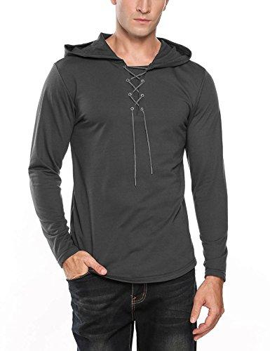 Coofandy Men's Fashion Lace-up V Neck Hip Hop Long Sleeve Pullover Hoodie Sweatshirt