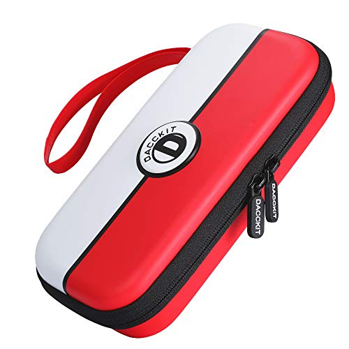 D DACCKIT Travel Carrying Case for Nintendo Switch Lite and Accessories - Red and White