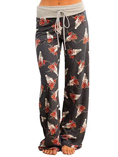iChunhua Women's Pajama Comfy Floral Print Lounge Drawstring Palazzo Long Wide Leg Pants XL Drak - Women Long Pajama Pants