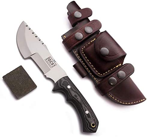 GCS Custom Handmade Black G10 Handle D2 Tool Steel Tactical Survival Hunting Tracker Brown Leather Right or Left Hand Horizontal Fixed Blade Knife Sheath Sharpening Stone GCS256