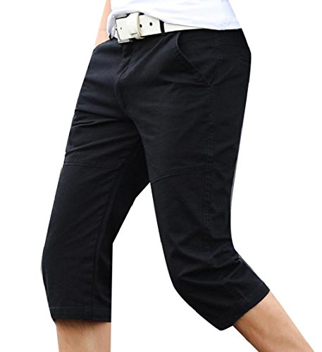 Cotton Twill 3/4 Pant - Comaba Men's Solid Colored Cotton Athletic-Fit Fit 3/4 Training Pant Black 34
