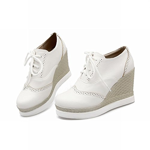 Latasa Womens Fashion Rope Woven Lace-up Platform Wedges Oxford Shoes White iSiSkMm