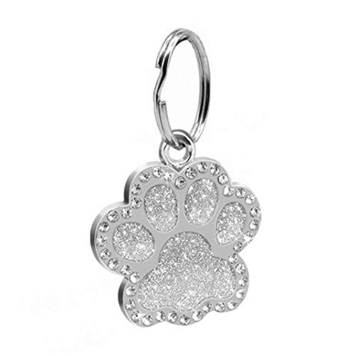 Difcuy Pet Supplies, Pet Toys, Pet Clothing,Pet Dog Puppy Paws Rhinestone Collar Tags Charm Pendant Key Ring Accessories - Silver from Difcuy