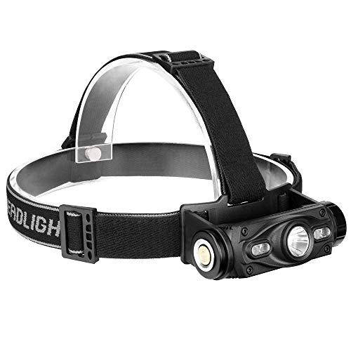 CHENNAO USB recargable LED cabeza antorcha faro faro súper brillante impermeable ligero peso cómodo para correr pesca camping senderismo (Peso Para Pesca)