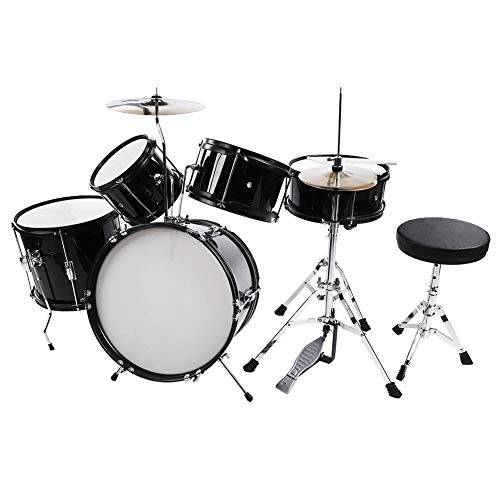 Cocoarm Drum Set Kids Junior Drum Kit 5 Drums 2 Cymbals 2 Drumsticks Stool Drum Pedal for Children Beginners (Black, 5-Piece)