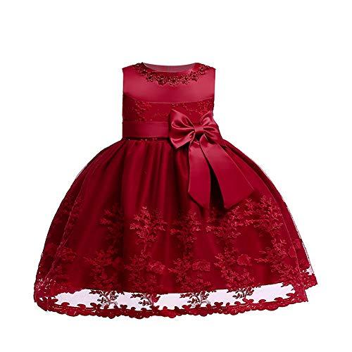 LZH Baby Girls Birthday Dress Baptism Wedding Flower Dress(Wine Red,12M)