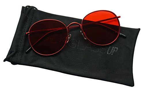 SunglassUP - Colorful Classic Vintage Round Flat Lens Lennon Style Sunglasses (Red, 53) (Red Mens Sunglasses)