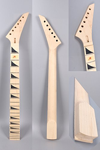 Yinfente Unfinished Electric Guitar Neck Replacement 24 Fret 25.5 Inch Maple wood Fretboard ()