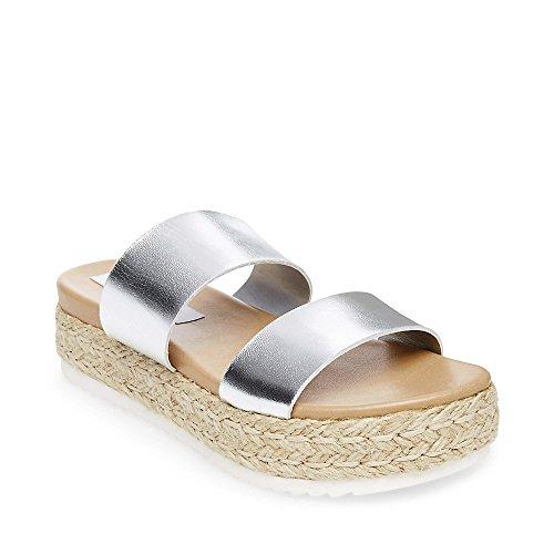 Steve Madden Women's Amaze Silver Leather Sandal 10.0 US