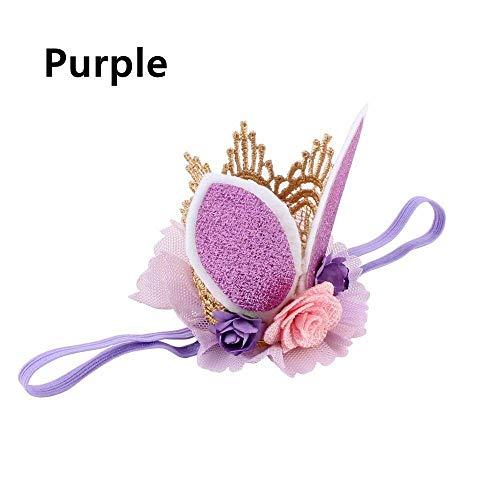 (Glitter Lace Rabbit Bunny Ears Kids Baby Headband Hair Band Flower Crown (color - purple))