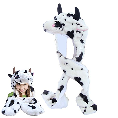 Dazzling Toys Plush Cow Hat with Long Paws Multi-functional Novelty Hoodie Hat (Cow Costume For Kids)