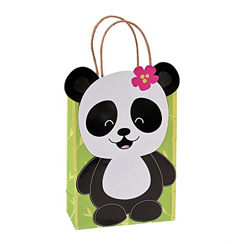 (Paper Panda Party Kraft Gift Bags - 12 ct)