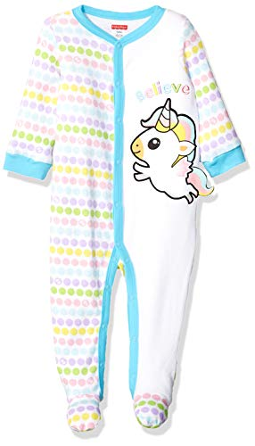 Fisher-Price Kids' Toddler Embroidered One-Piece Coverall, White/Pink/Blue, 24 Months